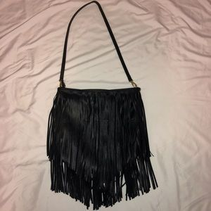 Black Fringe H & M Purse Hobo Bag Zip Closure